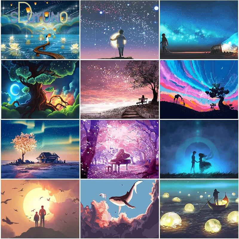 Numbrite järgi maalimine / maalimiskomplekt / fantaasia ja ulmeteemalised 24 erinevat pildivarianti / erinevad mõõdud / raamiga ja ilma
