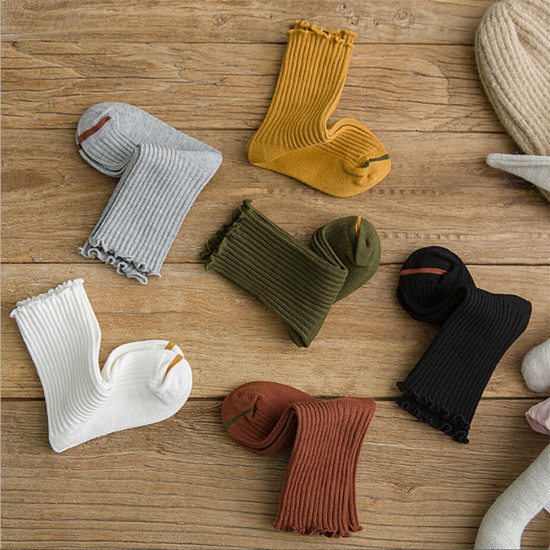 2019 Toddler Baby Girls Frills Trim Long Socks Children Infant Cotton Solid Cute Casual Knitted Autumn Winter Warm New Sale Hot