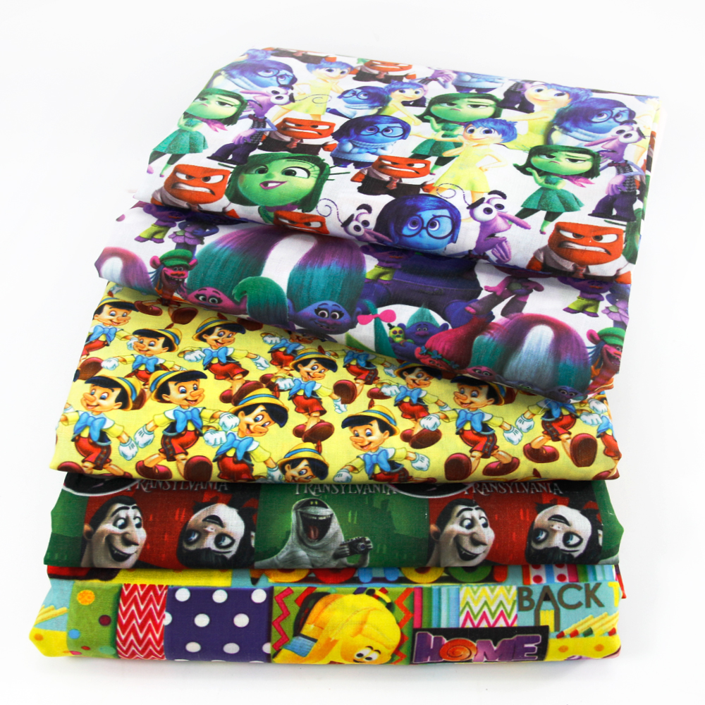 50*140CM Patchwork Printed Cartoon Polyester Cotton Fabric for Tissue Kids Bed Home Textile for Sewing Doll Girl Clothes,c457(China)