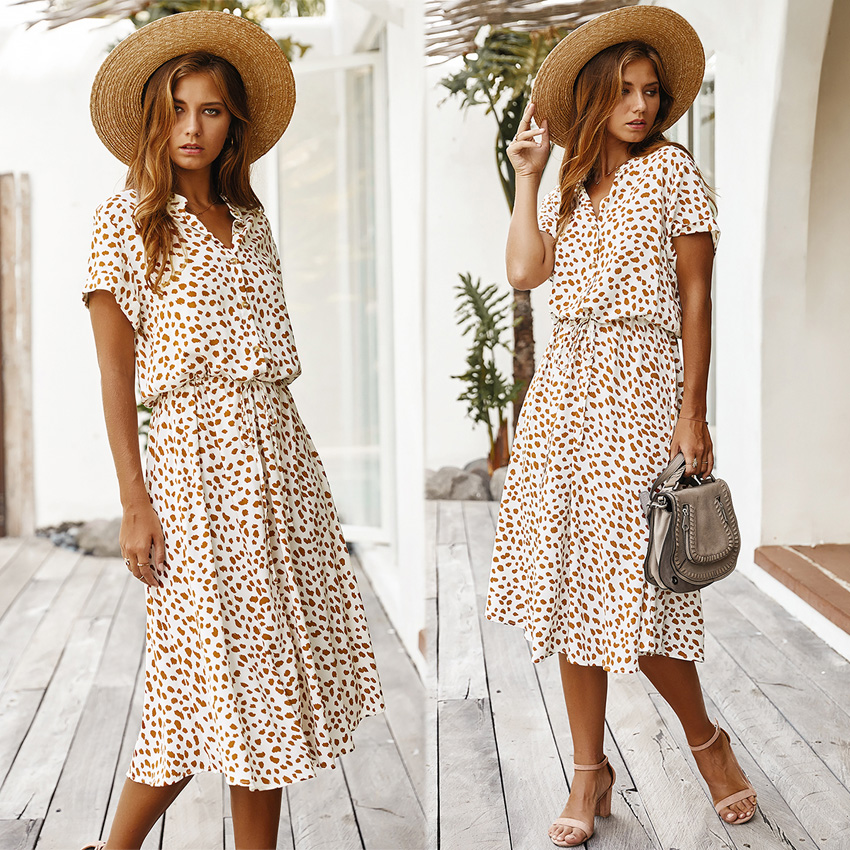 Dots Print White Short Sleeve Midi Boho Beach Dress 6