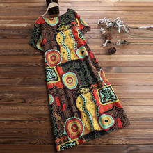 Plus Size Summer Women Bohemian O Neck Printed Short Sleeve Dress Female Casual Knee Length Dress Fashion Beatch Ladies Dresses short sleeve white lotus printing o neck women dresses casual cotton linen knee length dress vestidos summer plus size