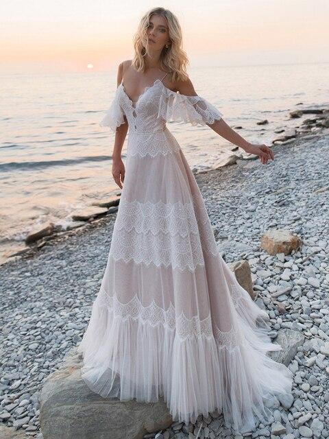 Bohemian Boho Beach Garden Bridal Gown Lace Champagne Spaghetti Straps Backless Destination Wedding Dress Vestido De Noiva #1241 2