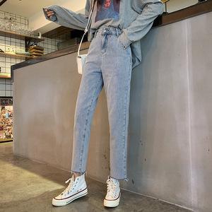 Image 3 - Jeans Women Vintage Simple Girls Korean Style Casual Womens All match Trousers Ankle length Harajuku High Quality Loose Fashion