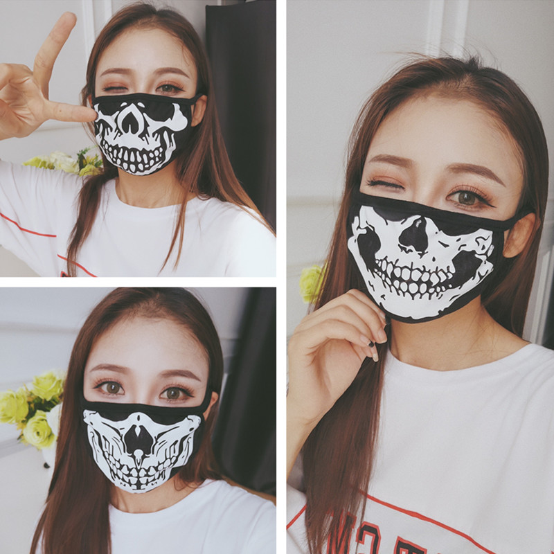 Halloween Party Mask Dustproof Mouth Face Mask Cartoon Unisex Fashion Skull Cosplay Mouth Masks Halloween Decorations Supplies