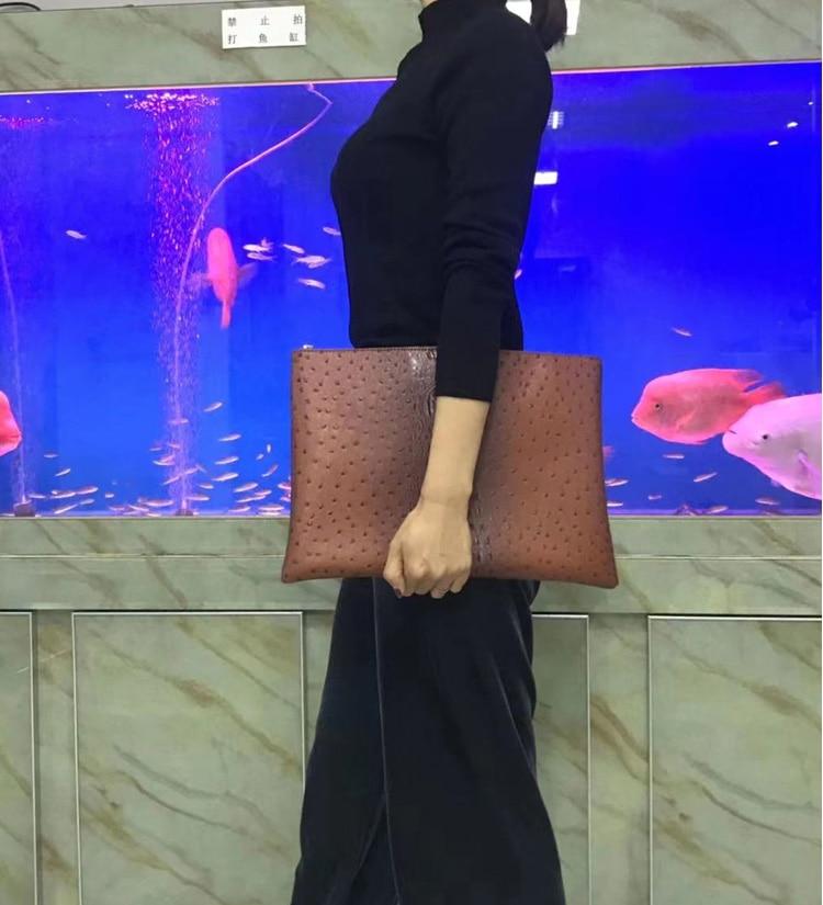 2020 Fashion Trend Laptop Bag Pouch Business Briefcase Women Crocodile Ostrich Leather File Folder Document Bag