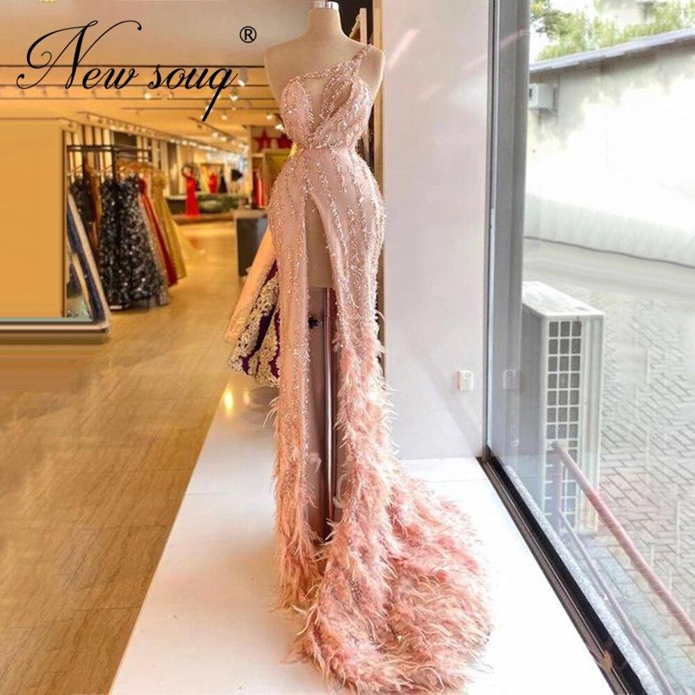 Formalne różowe pióra zroszony wieczór sukienka De wieczór Haute Couture kobiety Prom sukienki na ślub 2021 afryki Celebrity