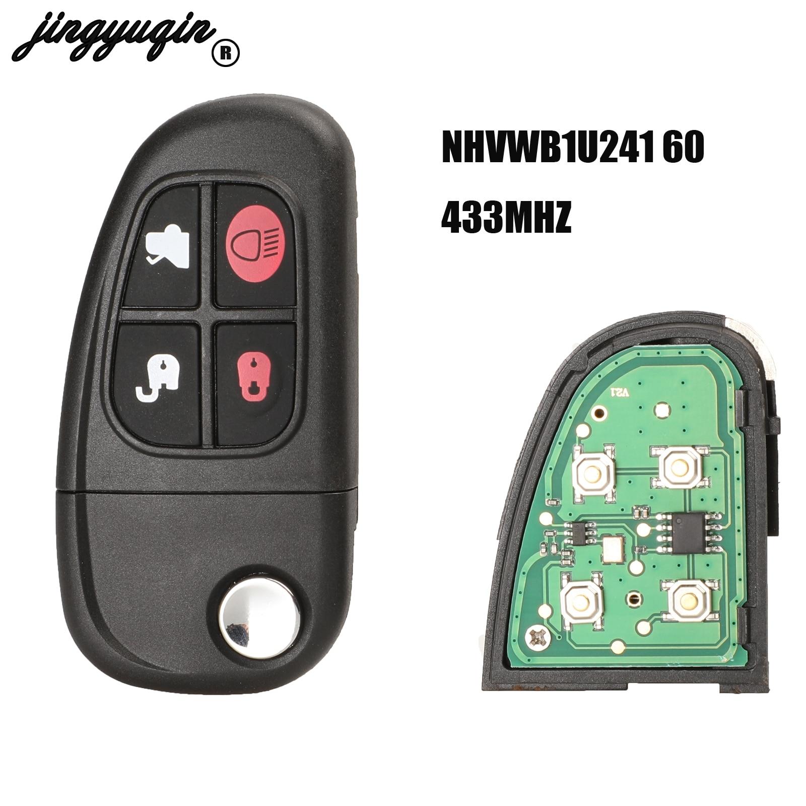 jingyuqin 4 Buttons Flip 2002-2008 433mhz 4D60 Chip Remote Control Car Key Replacement For Jaguar X-Type S-Type 1999-2009 XJ XJR