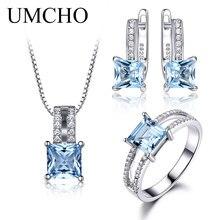 UMCHO 925 пробы комплект серебряных ювелирных изделий нано Аквамарин Небесно Голубой топаз кольцо кулон серьги-гвоздики ожерелье для женщин хорошее ювелирное изделие
