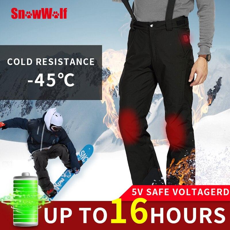 SNOWWOLF 2019 Men Winter Outdoor Ski Pants USB Infrared Heated Wintersport Pants Electric Thermal Snowboard Waterproof Trousers