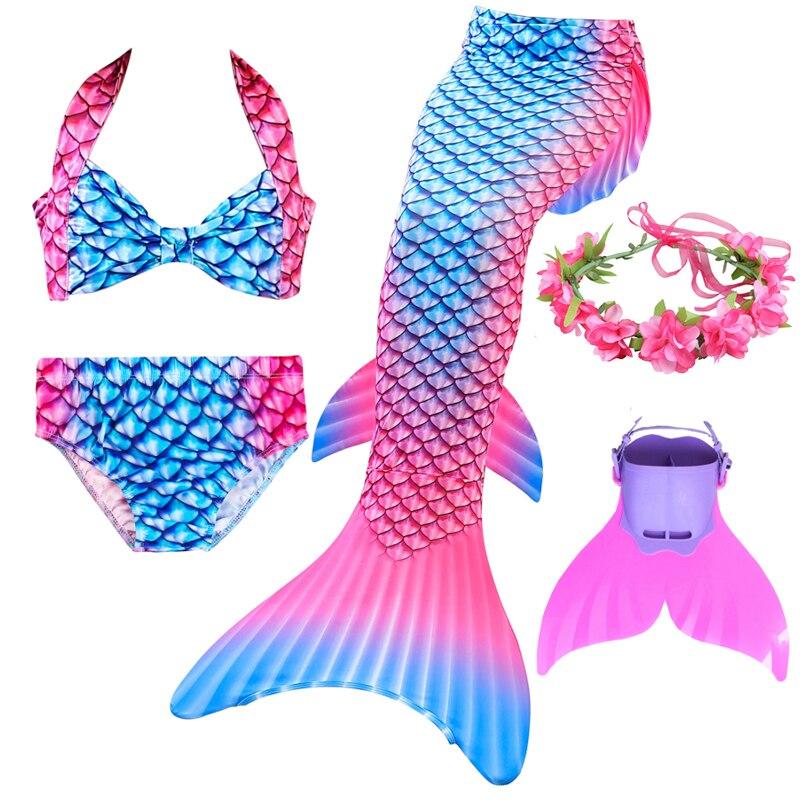 Dress Costumes Swimming Bikini Bathing-Suit Girls Mermaid with Fin 5pcs/Set for Flipper