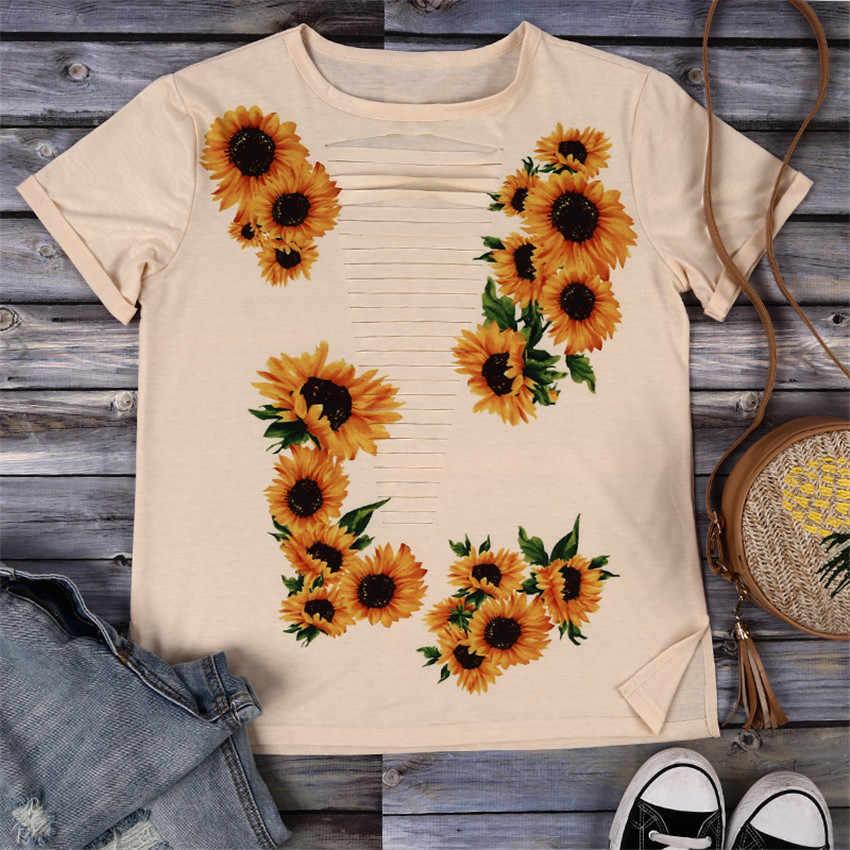 Évider T-shirt Femme Imprimé Tournesol hauts T-shirt Sexy top creux Femmes O-cou T-shirt 2019 Nouvelle Fleur T-shirt Pour L'été Tees