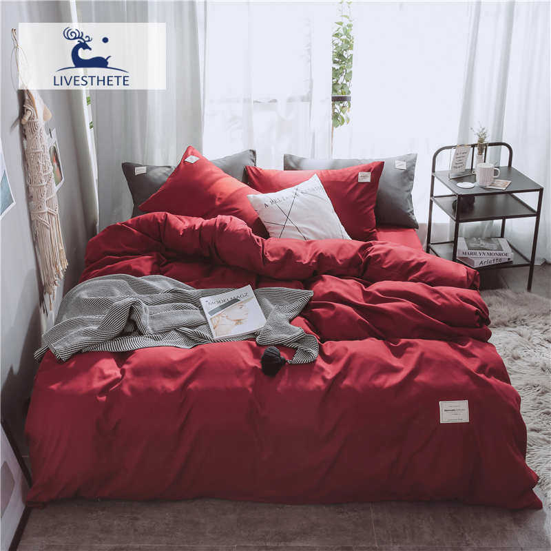 Liv-Esthete Luxury Red Solid Bedding Set Soft Printed High Quality Duvet Cover Flat Sheet Double Queen King Bed Linen Bed Sheet