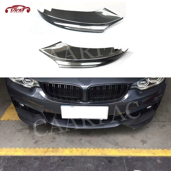 Front Lip Spoiler Splitters Flaps Cupwings for BMW F32 F33 435i M Sport 2014-2017 Carbon Fiber / FRP Head Chin Guard Car styling image