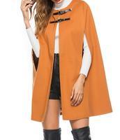 50% off New Leather Buckle Cloak Poncho Women Coat New Fashion Round Neck Woolen Overcoat Female Autumn Loose Warm Cape Coat