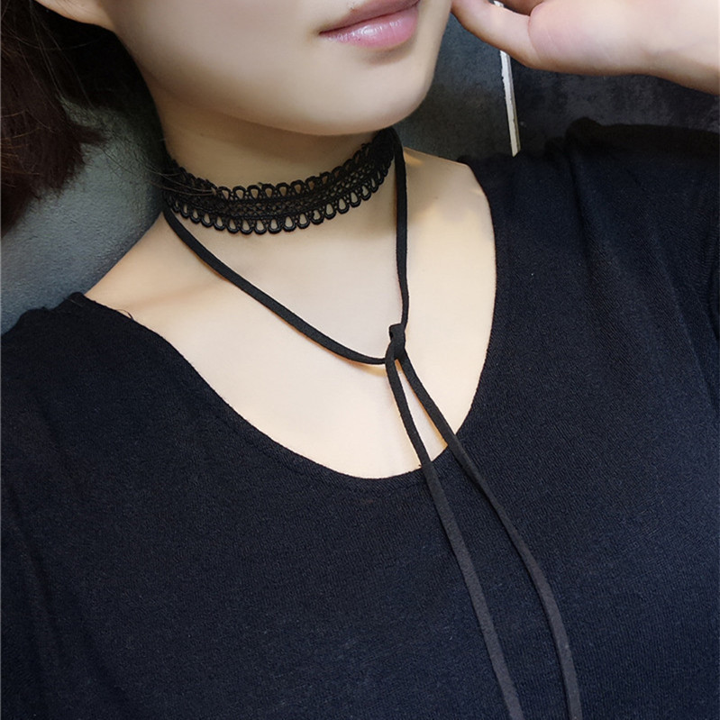 Collares De Moda 2019 Kolye Necklace Women Ornaments Lace Necklace Lace Joker Long Contracted Fashion Sweater Chain Necklace in Chain Necklaces from Jewelry Accessories