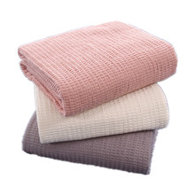 Pure Cotton Waffle Blanket Plain Quilt For Bed Sofa Towel Women Wrap Travel Throw