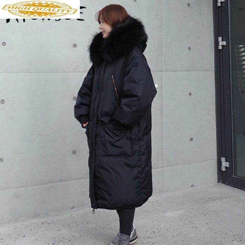 White Duck Down Jacket Women Big Fur Collar Hooded Thick Winter Jacket Women Warm Parka Puffer Jacket Abrigos FD0002 YY1548