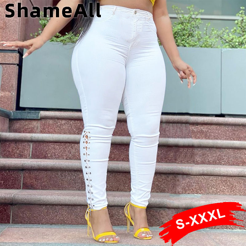 Plus Size Sexy Hollow Out White Skinny Jeans 3XL Summer Streetwear Women High Waist Ripped Lace Up Bandage Denim Pencil Pants