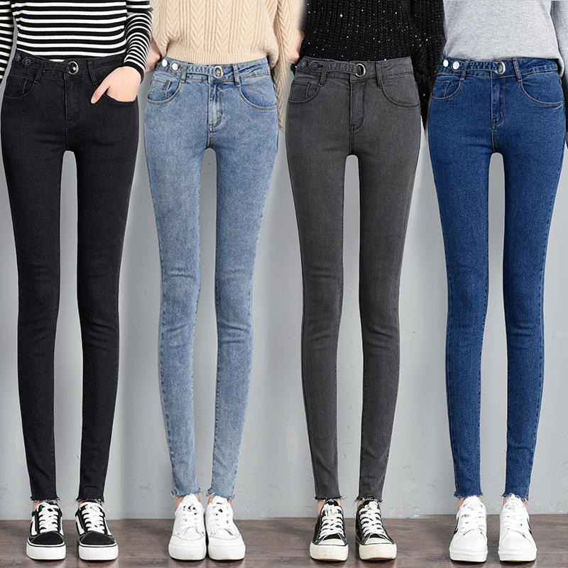 Mew Casual Button Stretch Slim Jeans Women High Waist Denim Pencil Pants Spring And Autumn Black Blue Gray Trousers