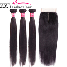 ZZY Fashion Hair Straight Bundles with Closure  Peruvian 3pcs Non Remy Human With