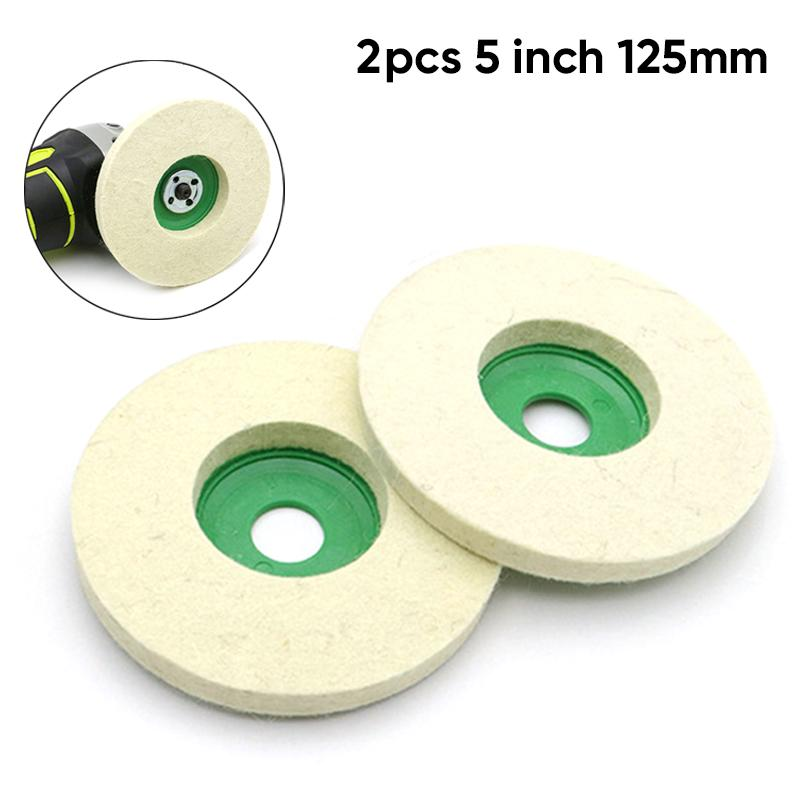 2pcs 5 Inch 125mm Wool Polishing Wheel Buffing Pads Angle Grinder Wheel Felt Polishing Disc For Metal Marble Glass Ceramics
