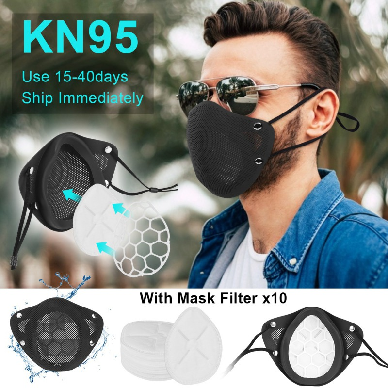 Reusable Silicone Face  Mask With Replacement Filter 95% Filtration Non-Woven Fabric Protective Anti-Dust Facemask