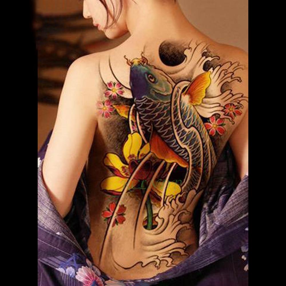 Waterproof Temporary Tattoo Sticker Koi Lotus Men's Whole Back Tattoo Large Tatto Stickers Flash Tatoo Fake Tattoos For Women 19