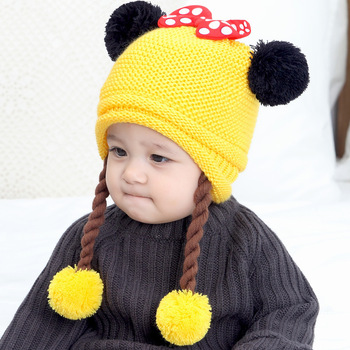 Newborn 0-12M Winter Cotton Warm Toddler Baby Girl Earflap Hat Kids Knit Pom Beanie Cute Ball Design Caps with Fake Braid