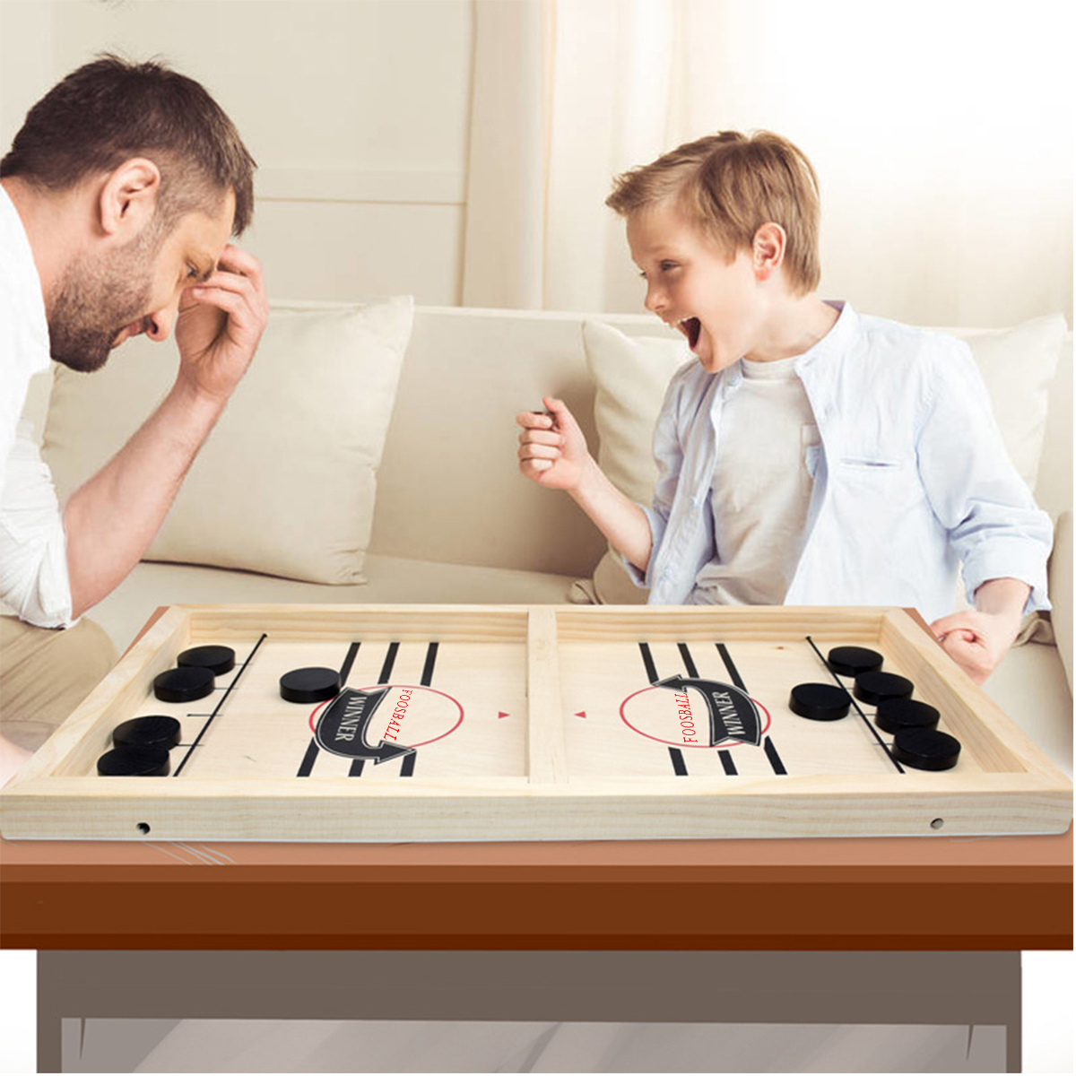 Giochi da tavolo portatili gioco da tavolo a fionda veloce gioco da imbracatura in legno gioco da Puck Indoor adulto bambino famiglia gioco da gioco giocattoli Hockey veloce