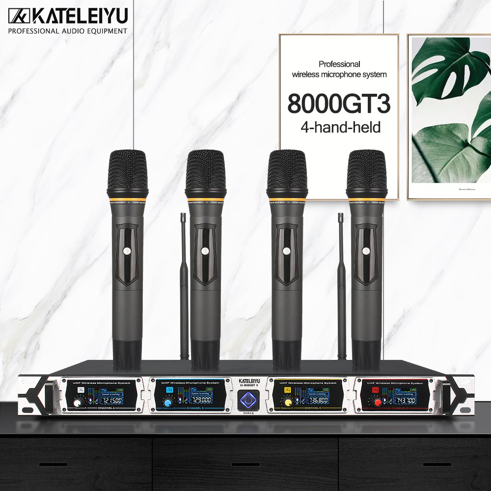 KATELEIYU U-8000GT 4 channel professional wireless microphone UHF Lapel system kalaok hand-held
