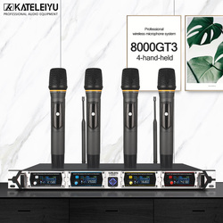 KATELEIYU U-8000GT 4 channel professional wireless microphone UHF Lapel microphone system kalaok 4 hand-held microphone