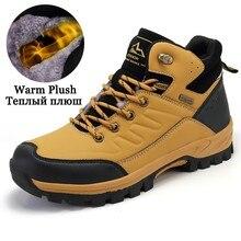 Outdoor Mens Ankle Sneakers Winter Men Snow Boots Warm Plush Fur Work Shoes Non Slip Rubber Boots Plus Size 46 45 Botas Hombre