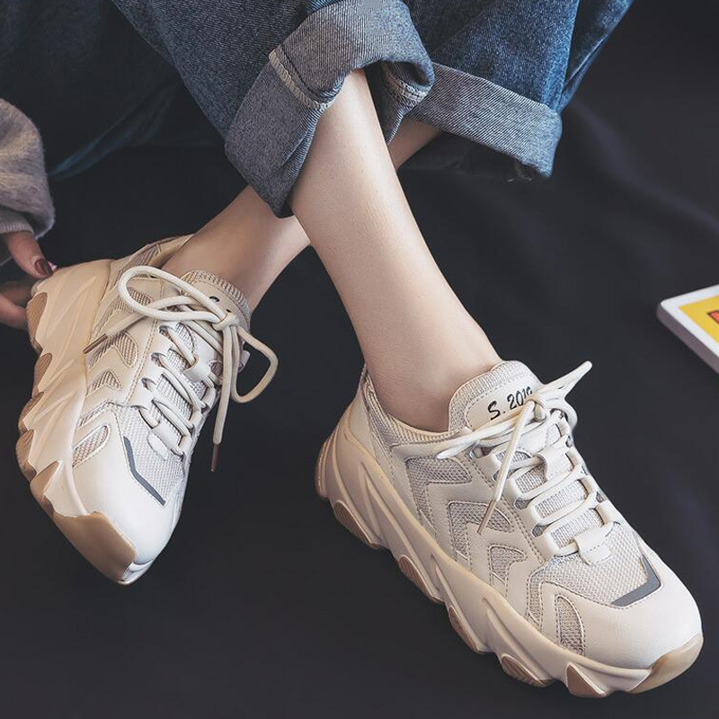 2019 New Woman Sneakers Canvas Shoes White Sneakers Platform Chunky Shoes Lady Casual Shoes Round Toe Zapatillas Mujer H1-74