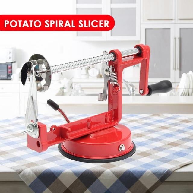 Potato Vegetables Fruit Cutter Fashionable Simple Spiral Chips Stainless Steel Slicer Kitchen Tools and Gadgets Cutting Artifact