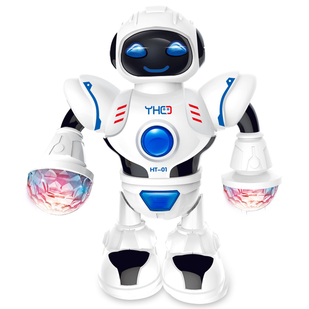 Electric Dancing Walking Musical Model Robot With Colorful Flashing Light Kids Interactive Education Toy Entertained Much Longer