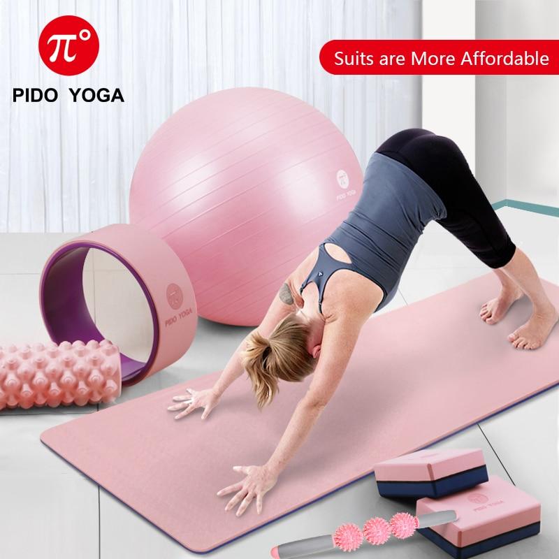 PIDO YOGA TPE Yoga Mat 183*61*0.6cm Non-slip Fitness Mat Yoga Ball Yoga Socks Resistance Band Headscarf Yoga Set