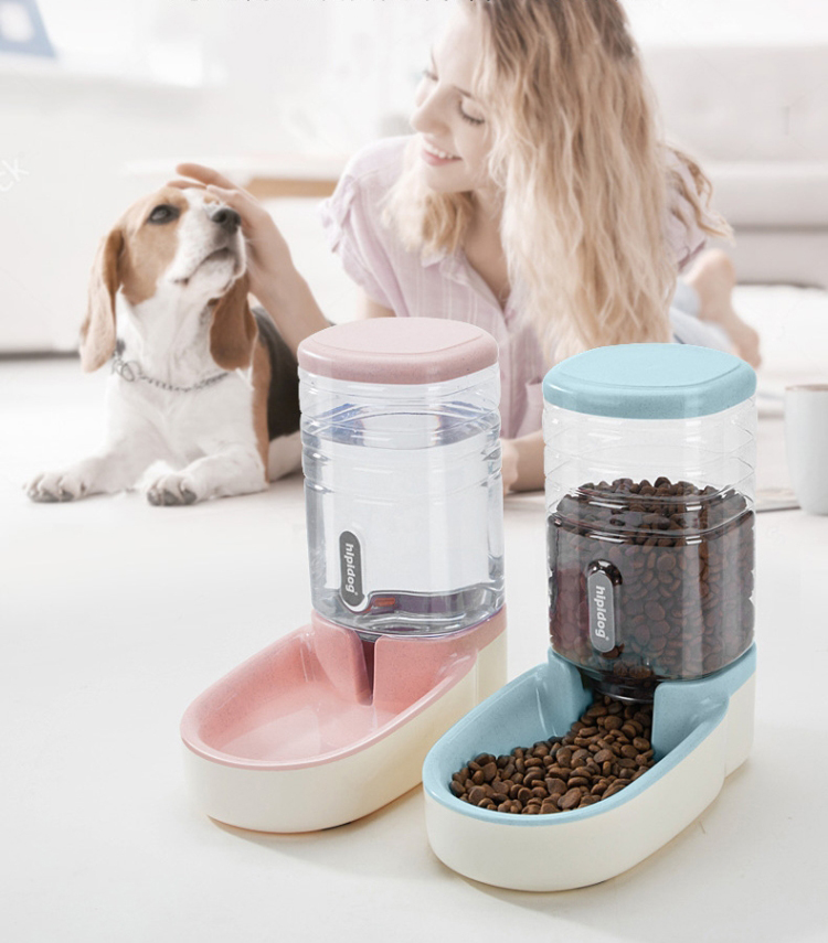 3.8L Two Styles Pet Automatic Feeder Small Size Large Capacity Cat Dog Water Feeder with Non-slip base Pet Food Container
