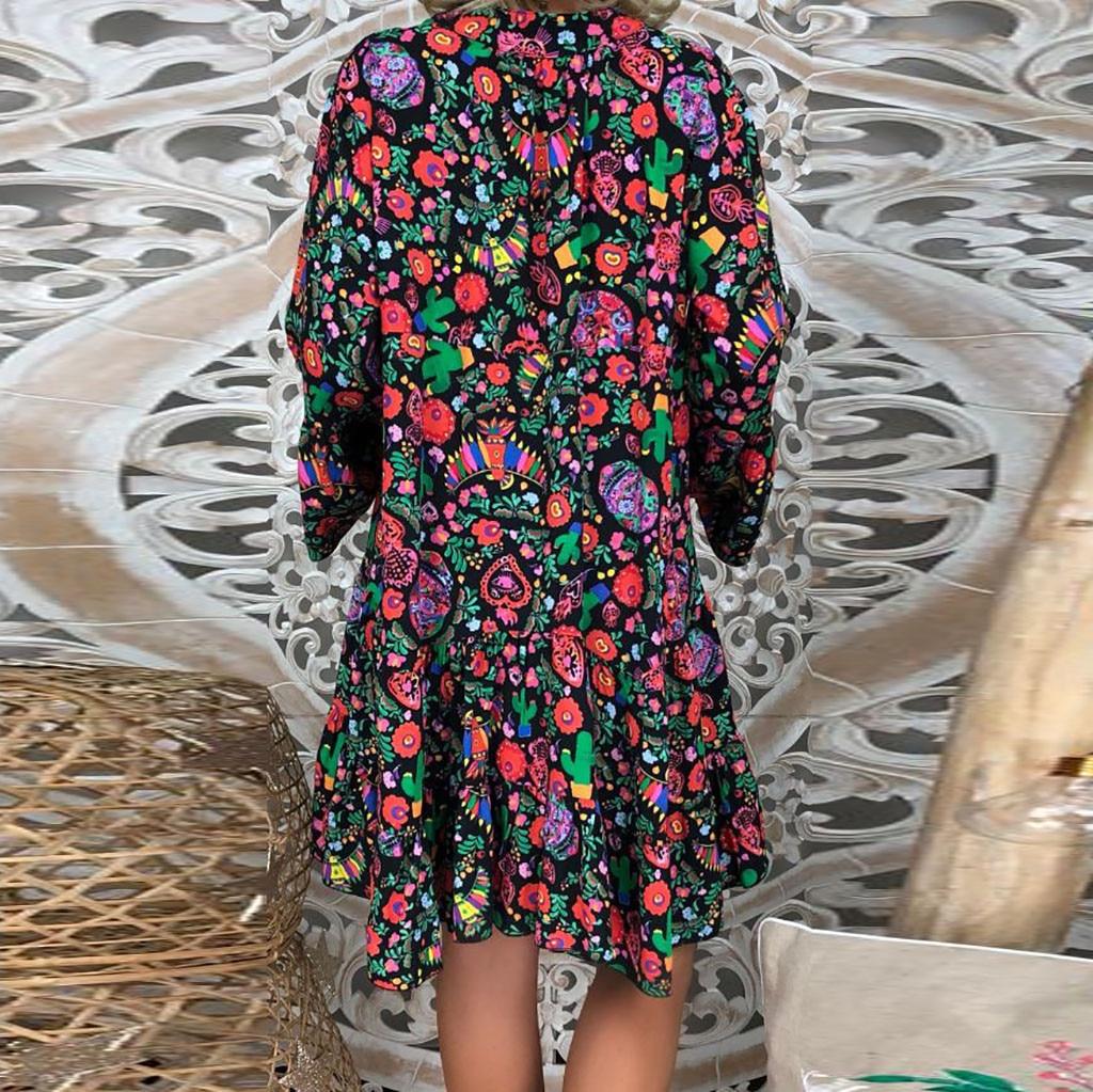 H5a3daff3e49141b98b4ba9434248dcdeL Spring Autumn Women Dress Plus Size 5XL Loose Print Long Sleeve V-Collar Button Party Dresses Casual Loose Women Dresses 2019