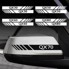 2 uds espejo retrovisor para coche Lado de etiqueta de la etiqueta engomada del cuerpo de Infiniti ESQ EX25 FX37 JX35 G35 M37 Q30 Q50 Q60 QX50 QX60 QX80 IPL