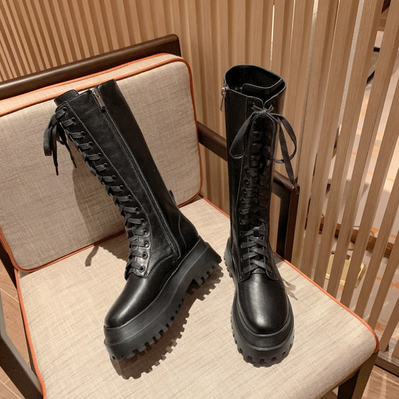 2020 Winter Women Fashion Mid-Calf Boots Chunky Platform Boots Leather Boots Women's Ulzzang Black Round Toe Ladies Shoes Woman