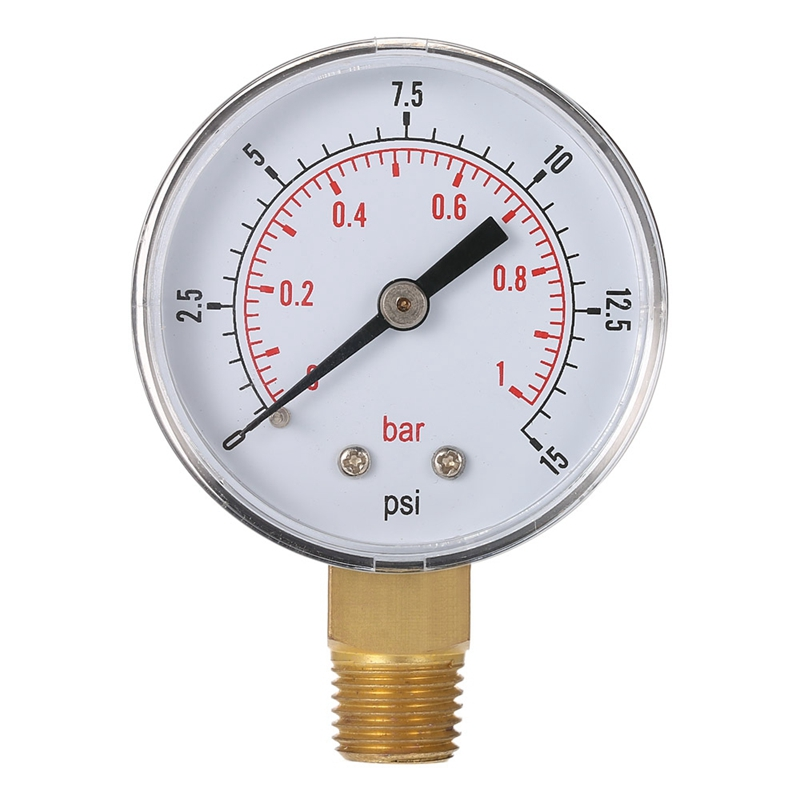 TS-50-15psi 0/15 PSI 0/1 Fuel Air Compressor Accessory Gauge Bar Low Pressure Meter Hydraulic Tester Dial Manometer Tool