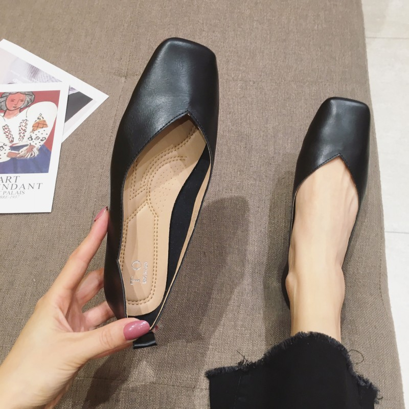 2020 Spring Autumn Women Flats Shoes Slip-On Women Ballet Flats Single Shoes Buckle Ladies Females Footwear Plus Size Black Red