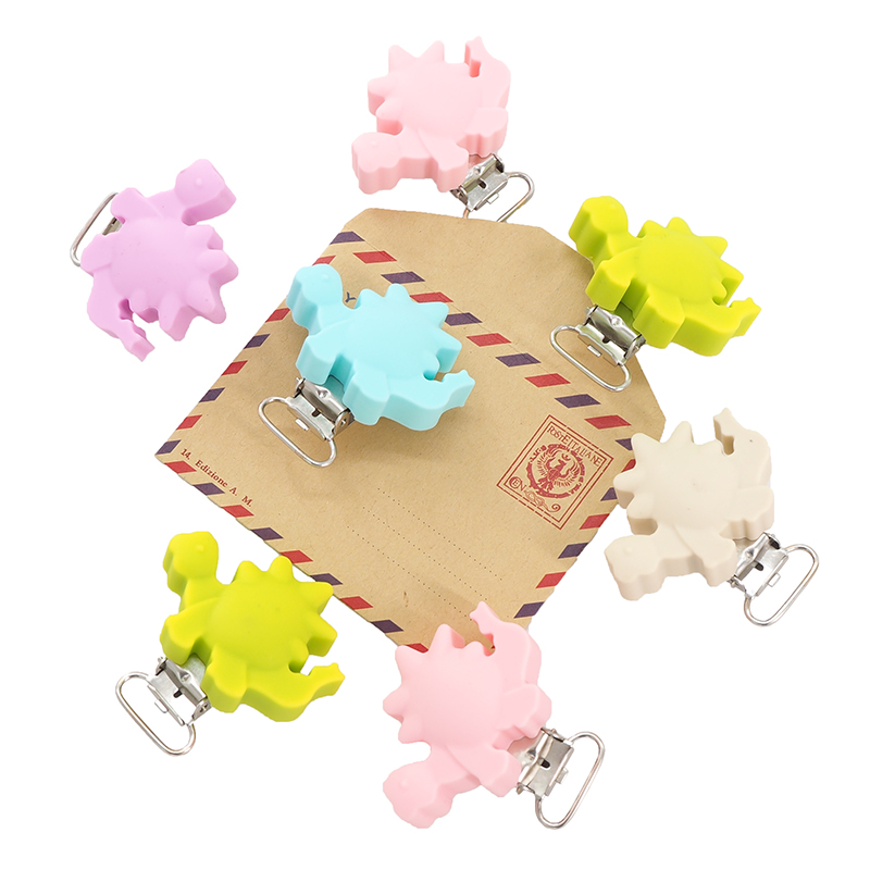 Chenkai 10PCS Baby Silicone Dinosaur Clip Teether Silicone Pacifier BPA Free DIY Infant Smoothing Bracelet Necklace Pendant Toy