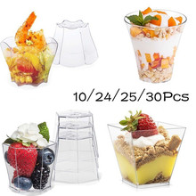 Container Dessert-Cups Ice-Cream Plastic Disposable Pudding-Cup Cake Square Party Lid