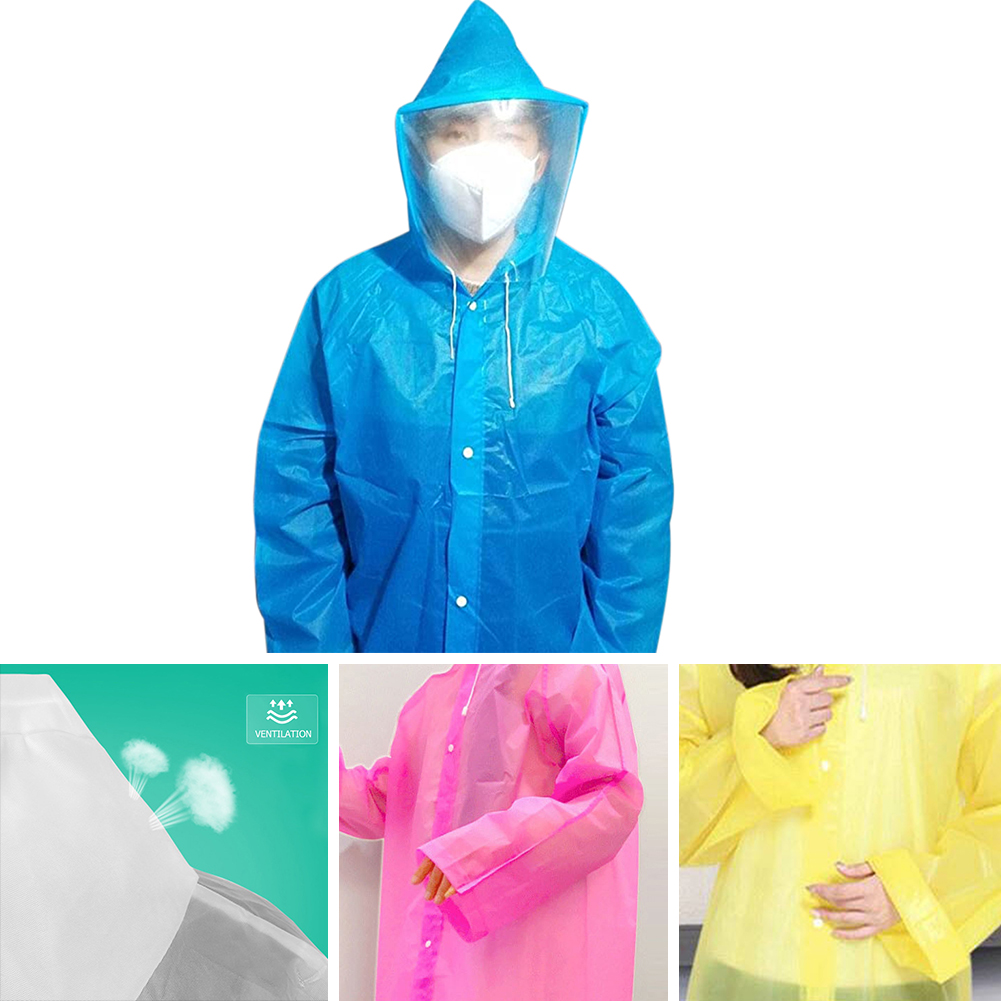 Disposable Anti-epidemic Antibacterial EVA Plastic Hoodies Outwear Dust-proof Isolation Gown W/Face Cover Protective Clothing