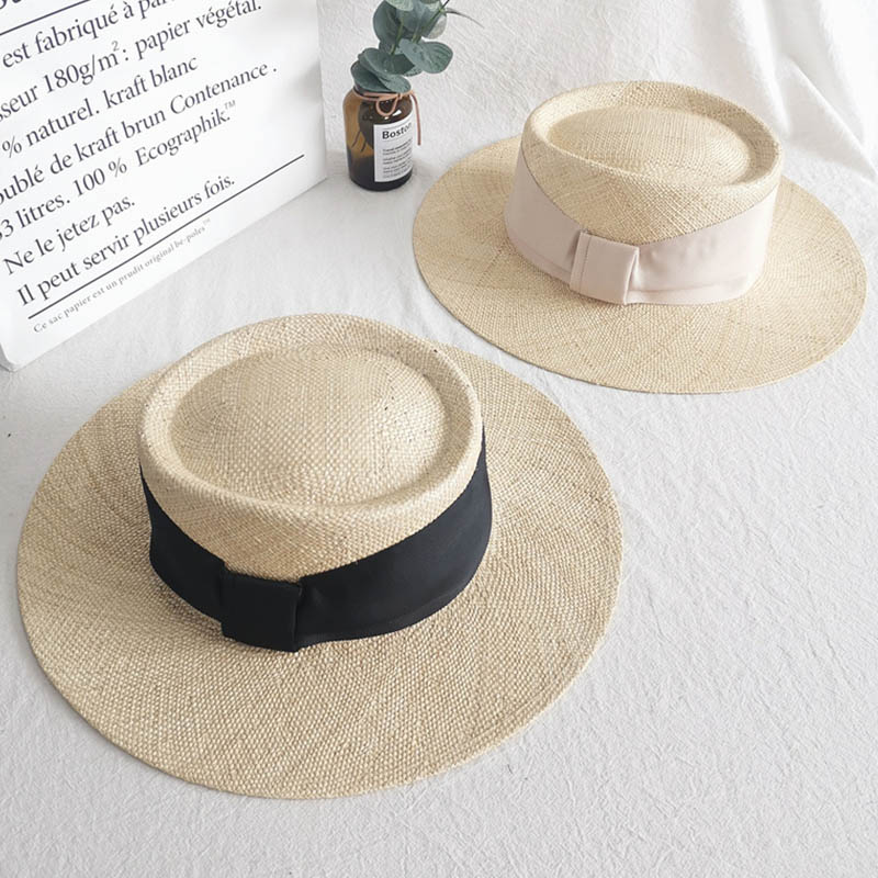 Classical Women's Palma Boater Hat Wide Brim Sun Hat Ladies Ribbon Bow Straw Hat Summer Travel Derby Hat