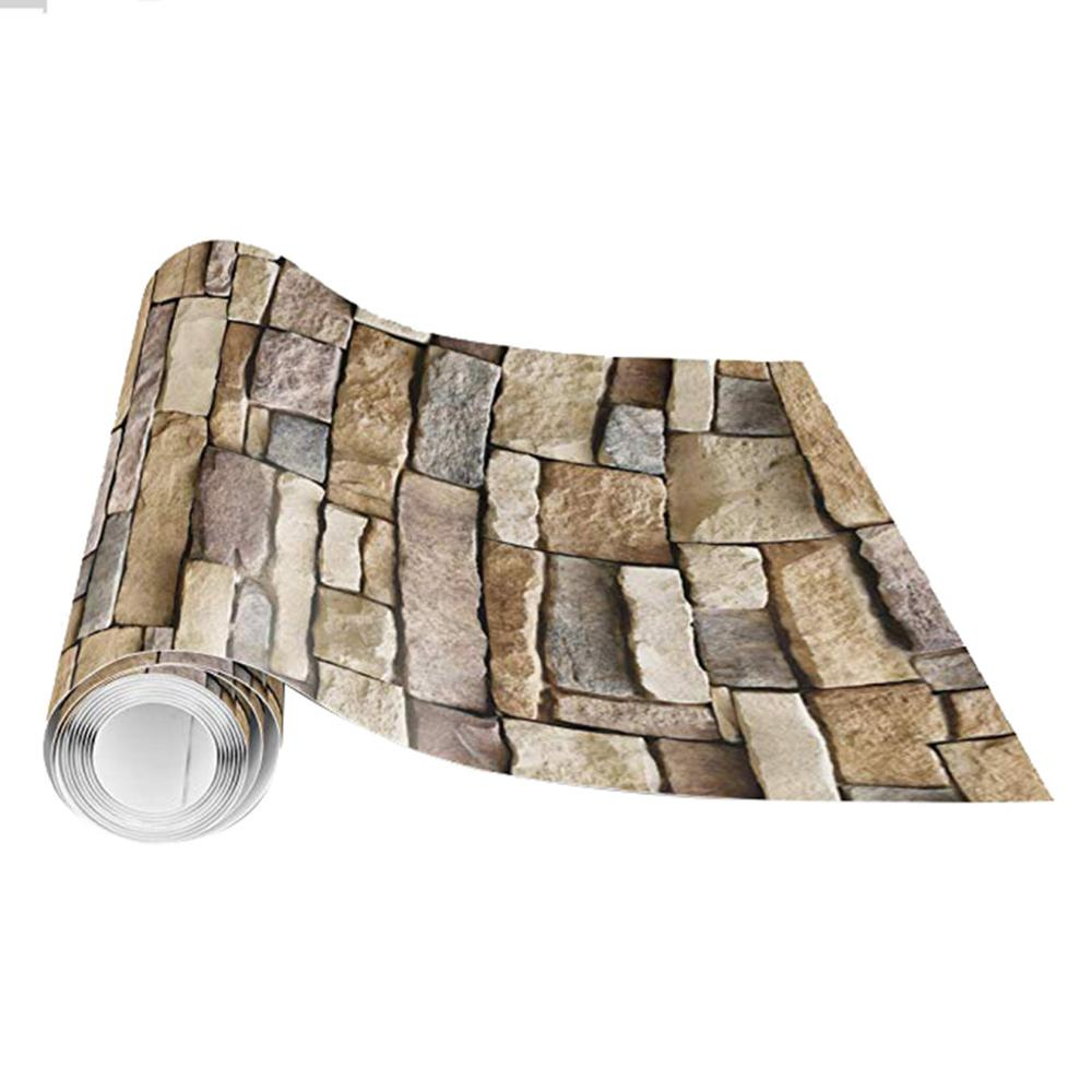 3D Wall Paper Brick Stone Rustic Effect Self-adhesive Wall Sticker Home Decor 45x300cm PVC