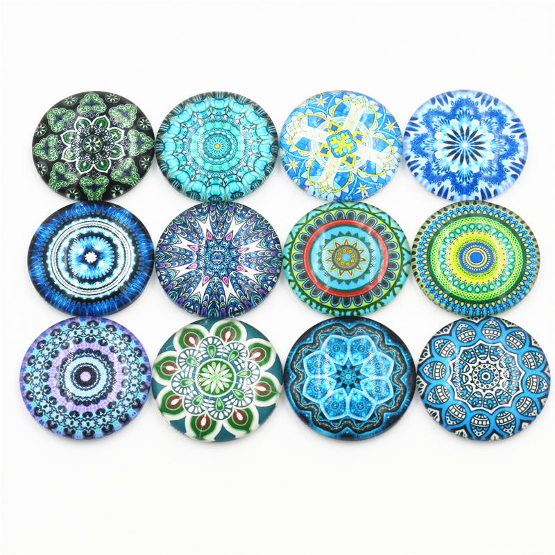 10pcs 20mm And 25mm New Fashion RetroMixed Handmade Photo Glass Cabochons Pattern Domed Jewelry Accessories Supplies