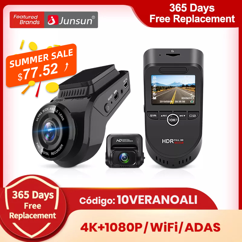 ( Código: 10VERANOALI ) Junsun S590 WiFi 4K del coche Dash Cam Ultra HD 2160P 60fps GPS ADAS DVR cámara grabadora Sony 323 cámara trasera visión nocturna 1080P
