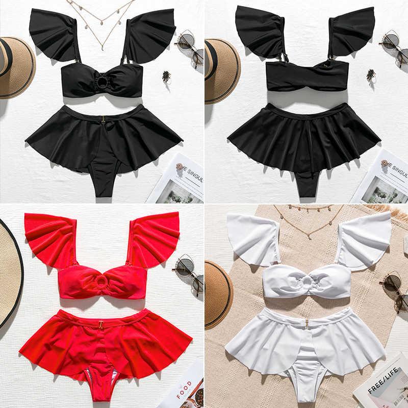 In-x noir maillot de bain avec jupe Sexy taille haute bikini 2020 à volants maillot de bain pour femme femmes épaules nues rétro maillot de bain